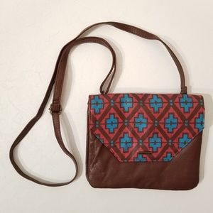 Roxy Crossbody Bag Red Blue and Brown C9